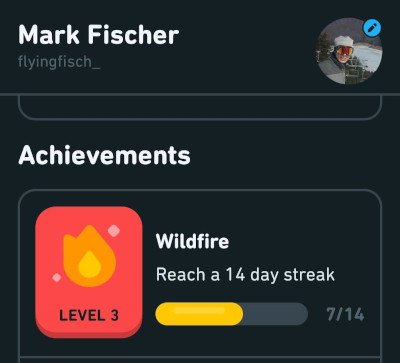 my first seven day duolingo streak