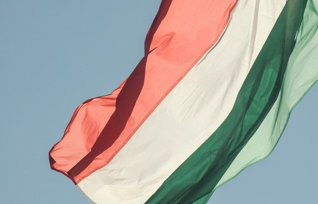 Hungarian flag waving in the wind